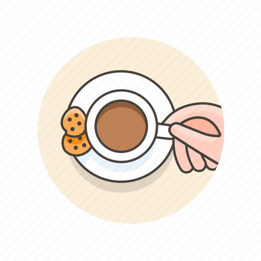biscuits, chocolate, coffee, cookies, cup, drink, hand icon