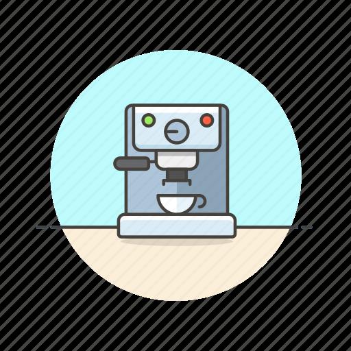 beverage, coffee, cup, drink, espresso, machine, making icon