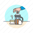 coffee, cream, cup, drink, frenchpress, hand, hot icon