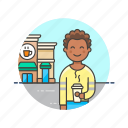 african, american, coffee, customer, drinks, male, shop icon