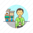 coffee, cup, customer, drink, hot, man, shop, store icon