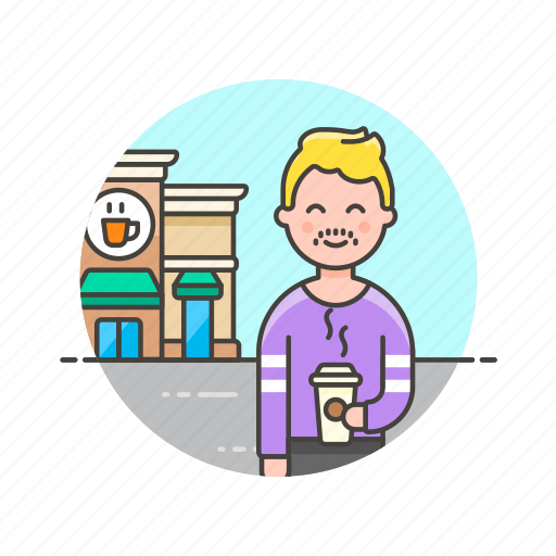 cafe, coffee, customer, drink, hot, man, shop, store icon
