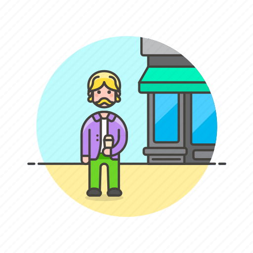 coffee, cup, customer, drink, man, shop, store icon
