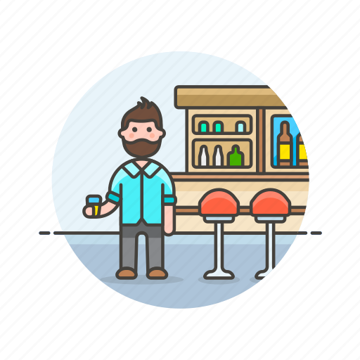 bar, beverage, drink, glass, man, pub icon