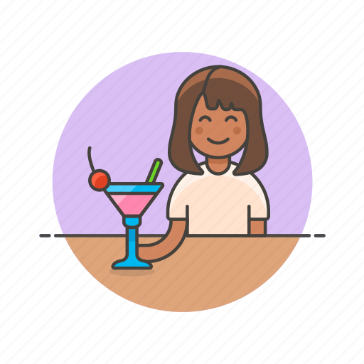 bar, beverage, cocktail, drink, glass, pub, restaurant, woman icon