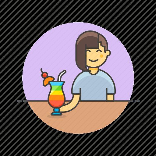 beverage, cocktail, drink, girl, glass, pub, restaurant, woman icon