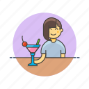 bar, beverage, cocktail, drink, girl, pub, restaurant, woman icon