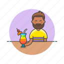 bar, beverage, cocktail, drink, glass, man, pub, restaurant icon