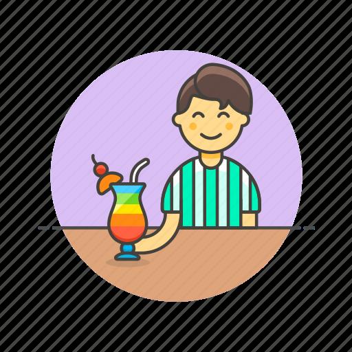 beverage, cocktail, drink, glass, man, pub, restaurant icon
