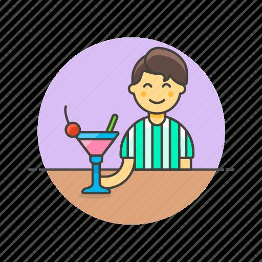 bar, beverage, cocktail, drink, glass, man, pub, restaurant icon