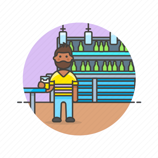bar, beer, beverage, drink, jug, man, pub, restaurant icon