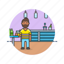 bar, beer, beverage, drink, jug, man, pub, restaurant icon