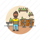 bar, beer, beverage, drink, jug, man, pub, rustic icon