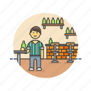 bar, beer, drink, jug, man, pub, rustic icon