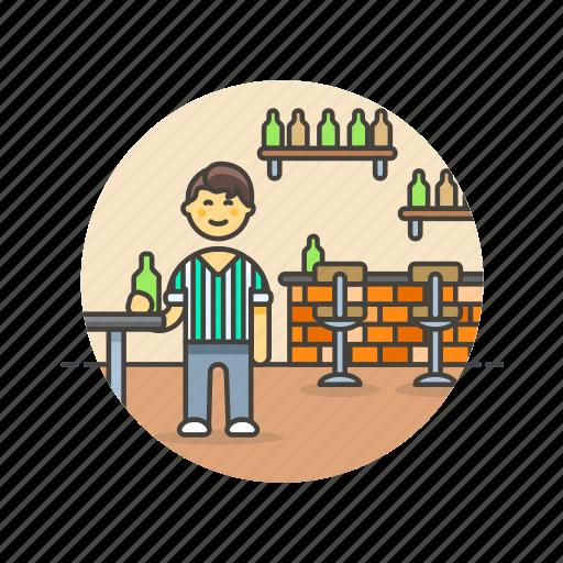 bar, beer, drink, jug, man, pub, rustic icon