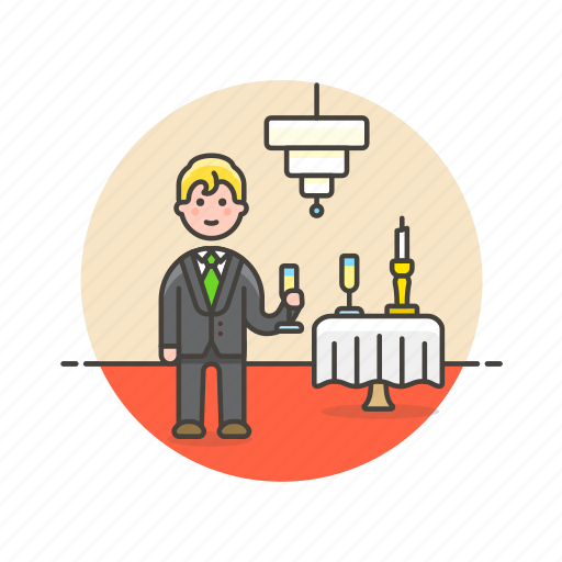 beverage, celebration, champagne, drink, formal, glass, man, party icon