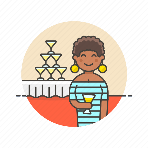celebration, champagne, drink, formal, party, tower, woman icon