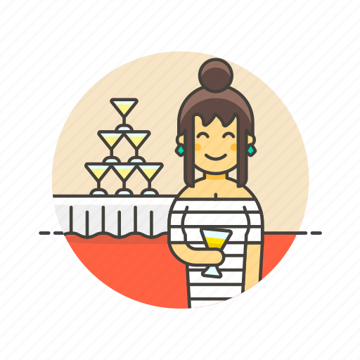 beverage, celebration, champagne, drink, formal, party, tower, woman icon