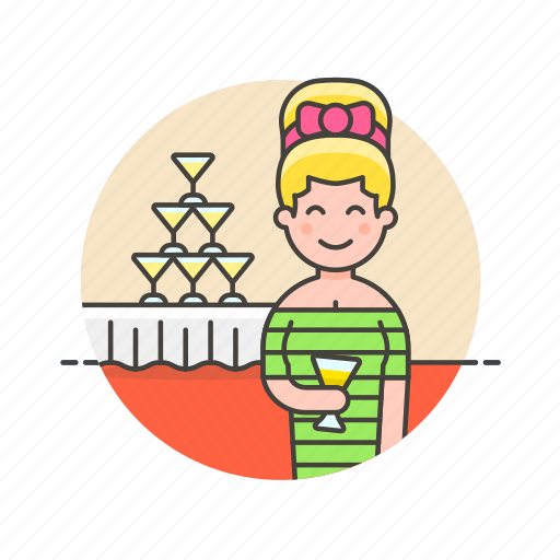 beverage, champagne, cocktail, drink, formal, party, tower, woman icon