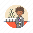 beverage, champagne, drink, formal, man, party, tower icon