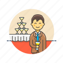beverage, celebration, champagne, drink, formal, man, party, tower icon