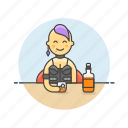 beverage, drink, girl, glass, spirit, whiskey, whisky, woman icon
