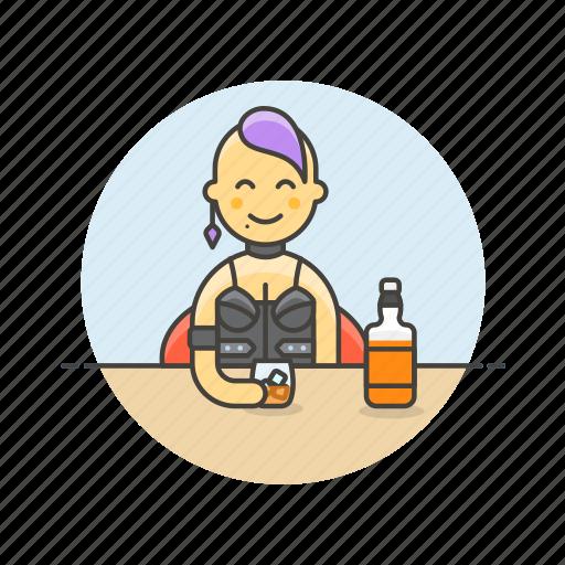 beverage, drink, girl, glass, spirit, whiskey, whisky, woman icon