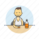 beverage, drink, glass, man, spirit, whiskey, whisky icon