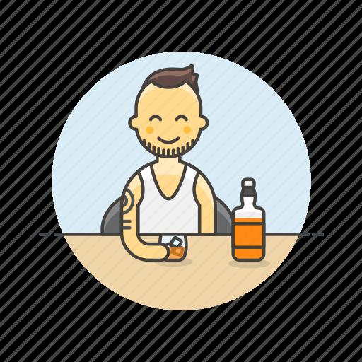 beverage, drink, glass, man, spirit, whiskey, whisky icon