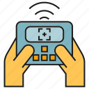 controller, equipment, hand, remote, wifi icon