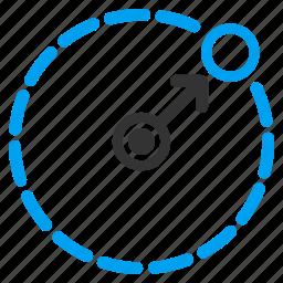 area, arrow, circle border, direction, navigation, region, route icon
