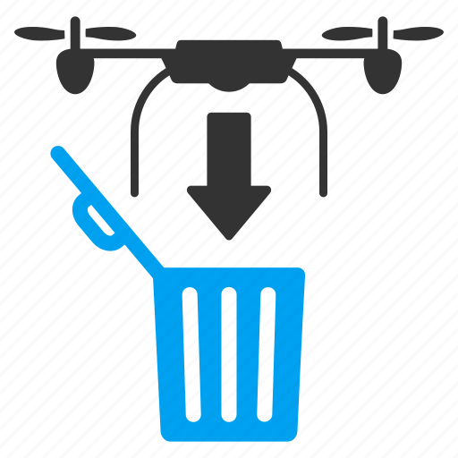 drone, drop, garbage, nanocopter, quadcopter, recycle bin, trash icon
