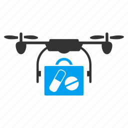 copter, drone, drug delivery, medical service, pharmacy, quadcopter, shipment icon