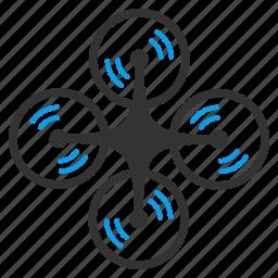 air drones, flying drone, nanocopter, quad copter, quadcopter, radio control uav, screw rotation icon