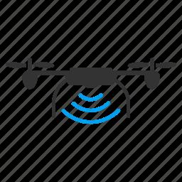 communication, flying retranslator, network, quadcopter, radio transmitter, wifi, wireless repeater icon