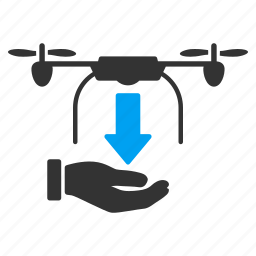 arrival, delivery, drone, drop, landing, quadcopter, unload icon