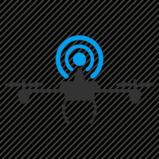 drone, flying retranslator, network, quadcopter, radio transmitter, wifi, wireless repeater icon