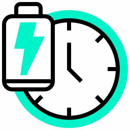 battery, clock, power, remainder, time icon