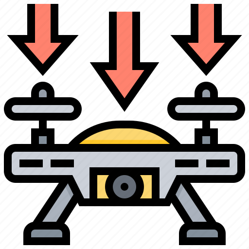 aircraft, down, drone, fly, landing icon