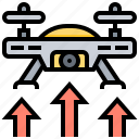 aviation, drone, flight, fly, off, take, up icon