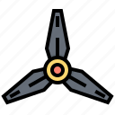 aircraft, blades, propeller, spin, three icon