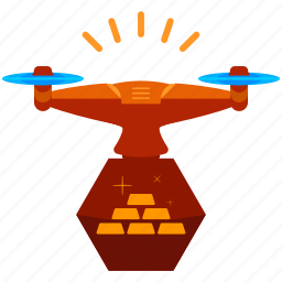 bricks, device, drone, finance, gold, technology, value icon