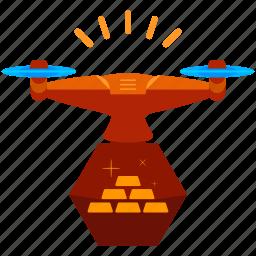 drone, gold icon
