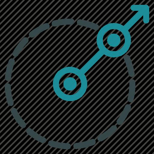 area, direction, exit, limit, radial, radius, region icon