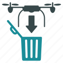 aircraft, drone, drop, nanocopter, quadcopter, trash icon