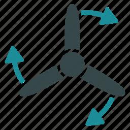 bladed, direction, rotate, rotation, screw, three, turbine icon