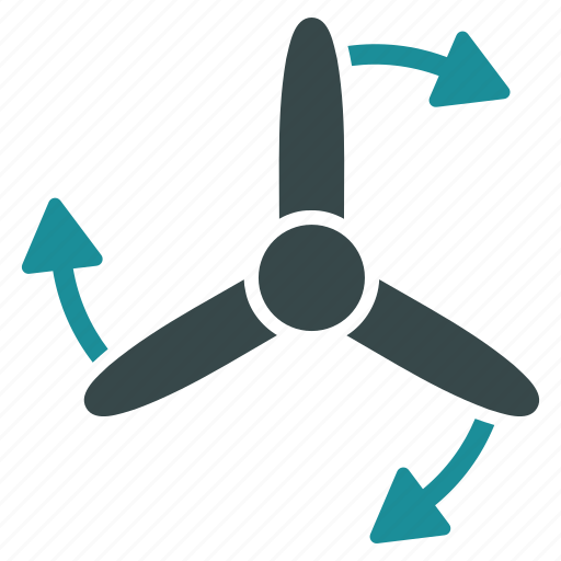 bladed, direction, rotate, rotation, screw, three, turbine icon