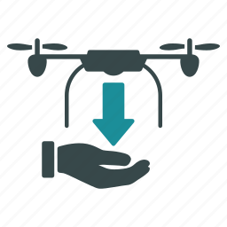 aircraft, drone, drop, hand, nanocopter, quadcopter, unload icon