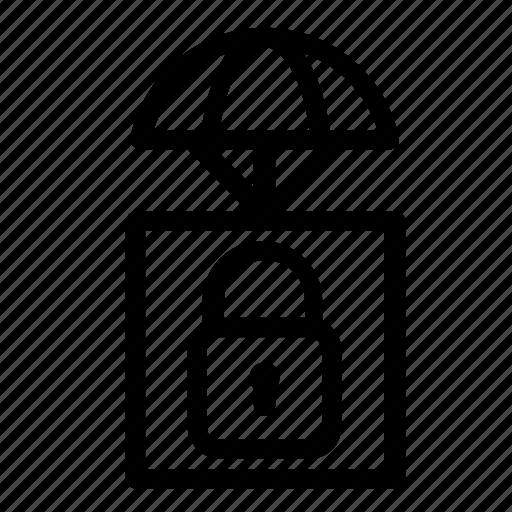 airdrop, delivery, lock, padlock icon