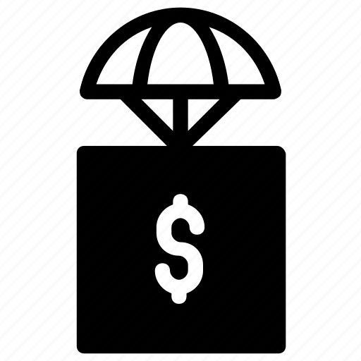 airdrop, delivery, dollar icon